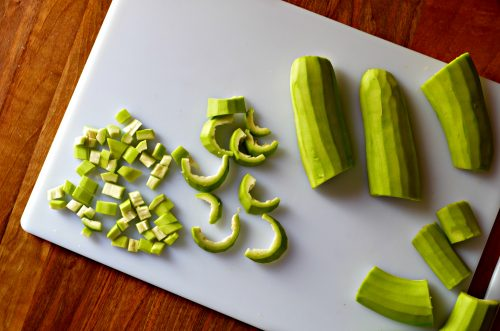 bottle gourds sliced into various sized pieces