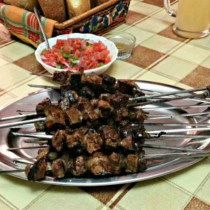 grilled skewers of liver wrapped in caul fat