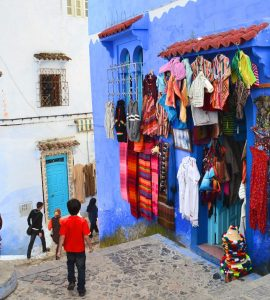 A narrow street in Chefchaouen, Morocco.