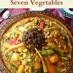 pinterest image for Moroccan couscous with seven vegetables.