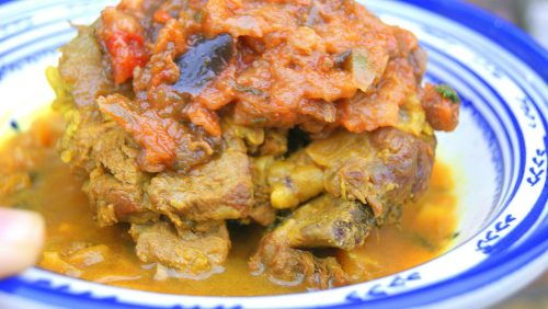Moroccan meat cooked m'qualli style with aubegine zaalook.