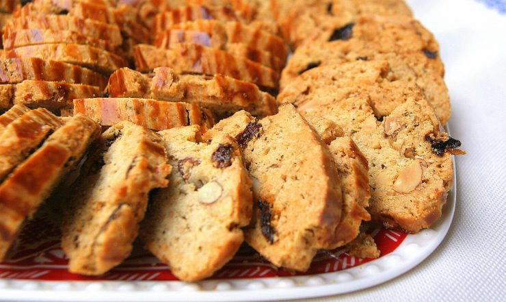 Moroccan fekkas with almonds and raisins. on a plate
