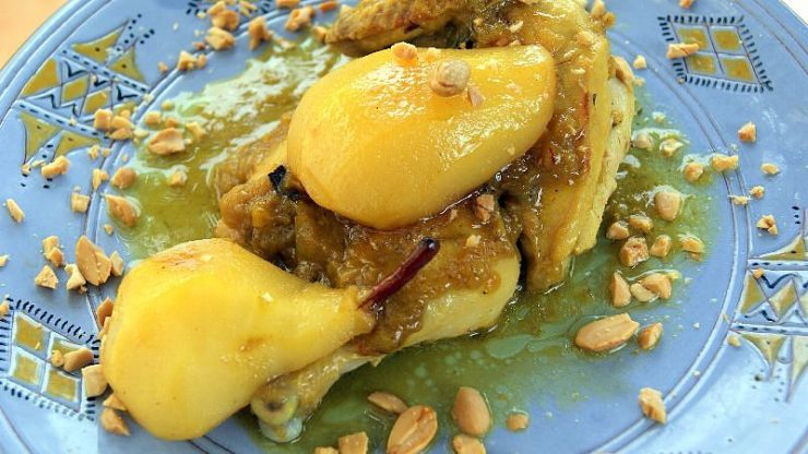 A serving of Moroccan chicken and pears, and a sprinkle of blanched, friend and crushed almonds