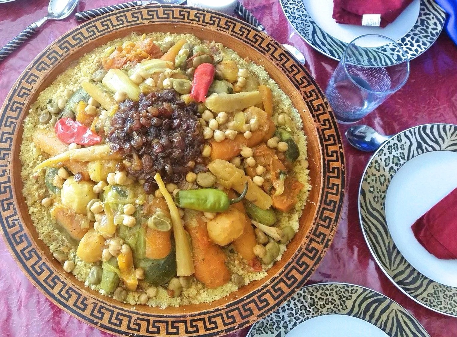 Moroccan Couscous With Seven Vegetables Couscous Bidaoui Taste Of Maroc