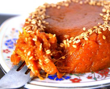 Moroccan pumpkin paste topped with sesame seeds