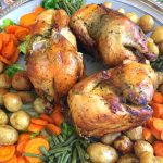 3 steamed and roasted chickens with herbs stuffing served with vegetables