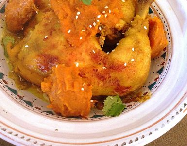 Moroccan chicken M'qualli with pumpkin paste.