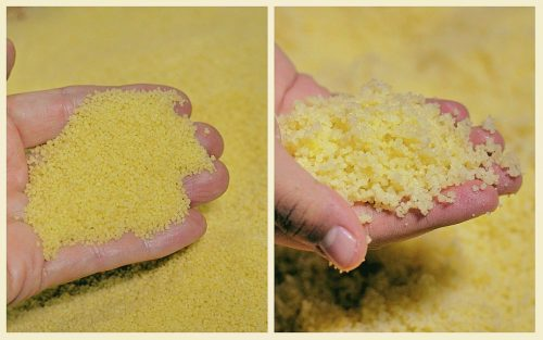 A two-photo collage. The photo on the left shows a hand holding dry, uncooked couscous grains. The photo on the right shows the same hand holding the couscous after it has become plump and tender following three steaming sessions.