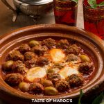 Pinterest image forMoroccan meatballs in tomato sauce