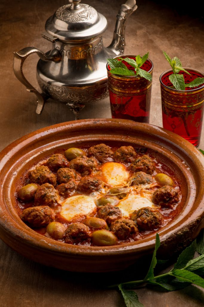 Moroccan meatballs in sauce with poached eggs.