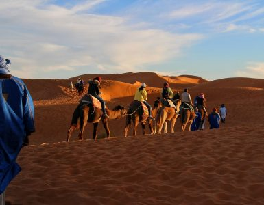 Tourists riding camels in Morocco.