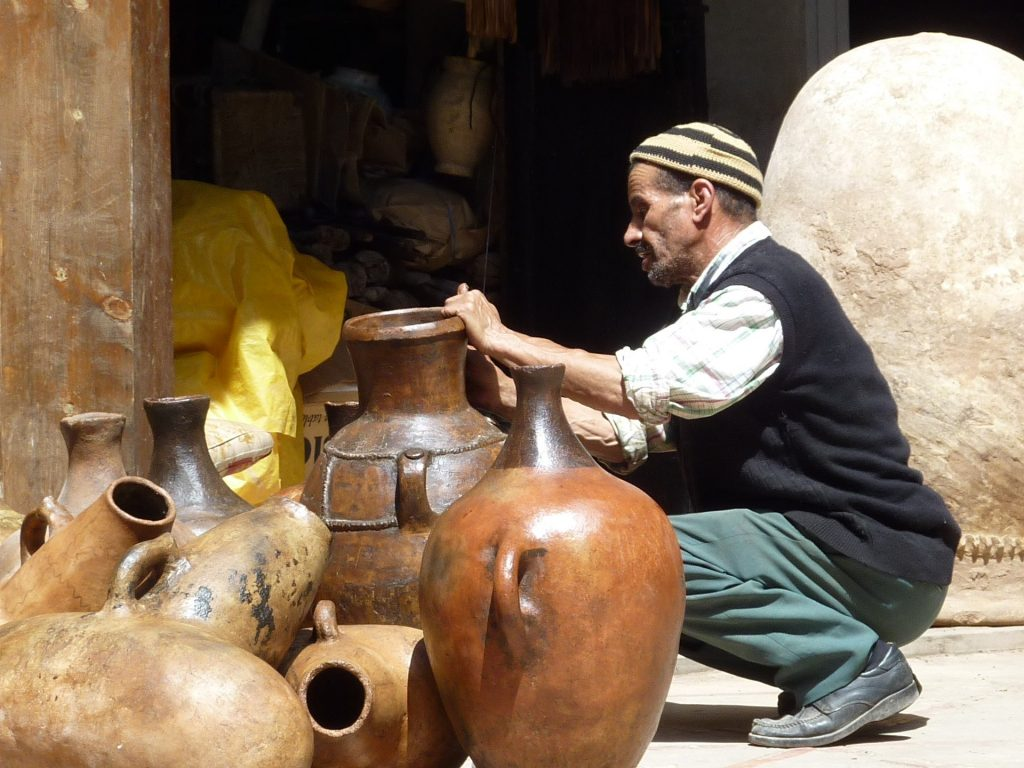 Moroccan potter at work.