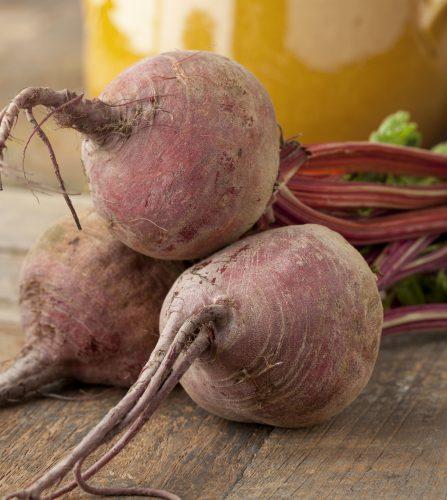 three uncooked beets