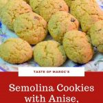 Pinterest image of Moroccan semolina cookies on a plate.