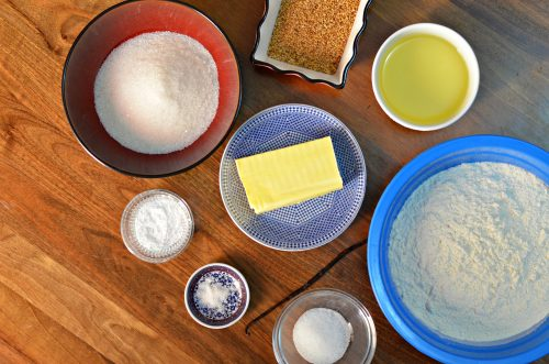 Overhead photo showing Moroccan shortbread ingredients in individual bowls.
