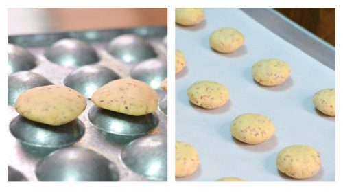 Shortbread cookie dough is shown on a mold and regular baking sheet.