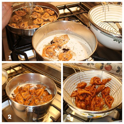 Collage showing chebakia frying in oil, then soaking in honey, and finally straining.