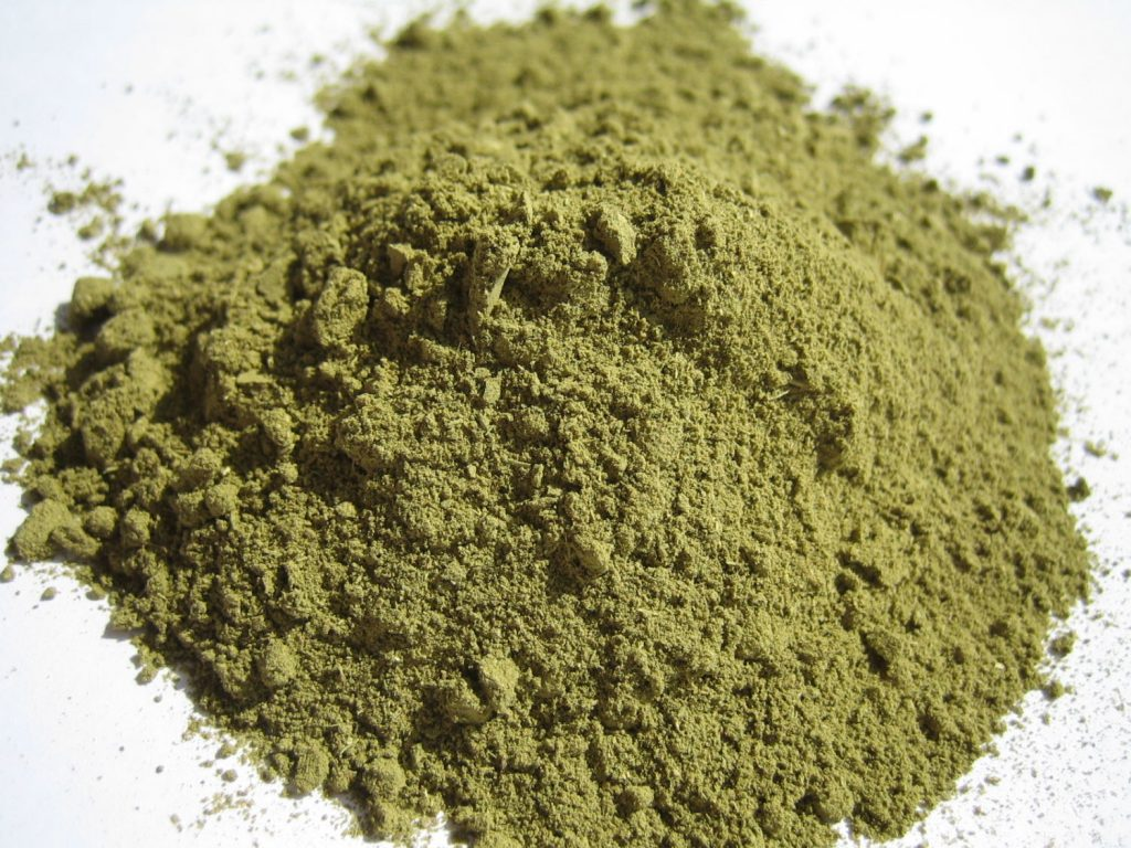 Closeup photo of henna powder.