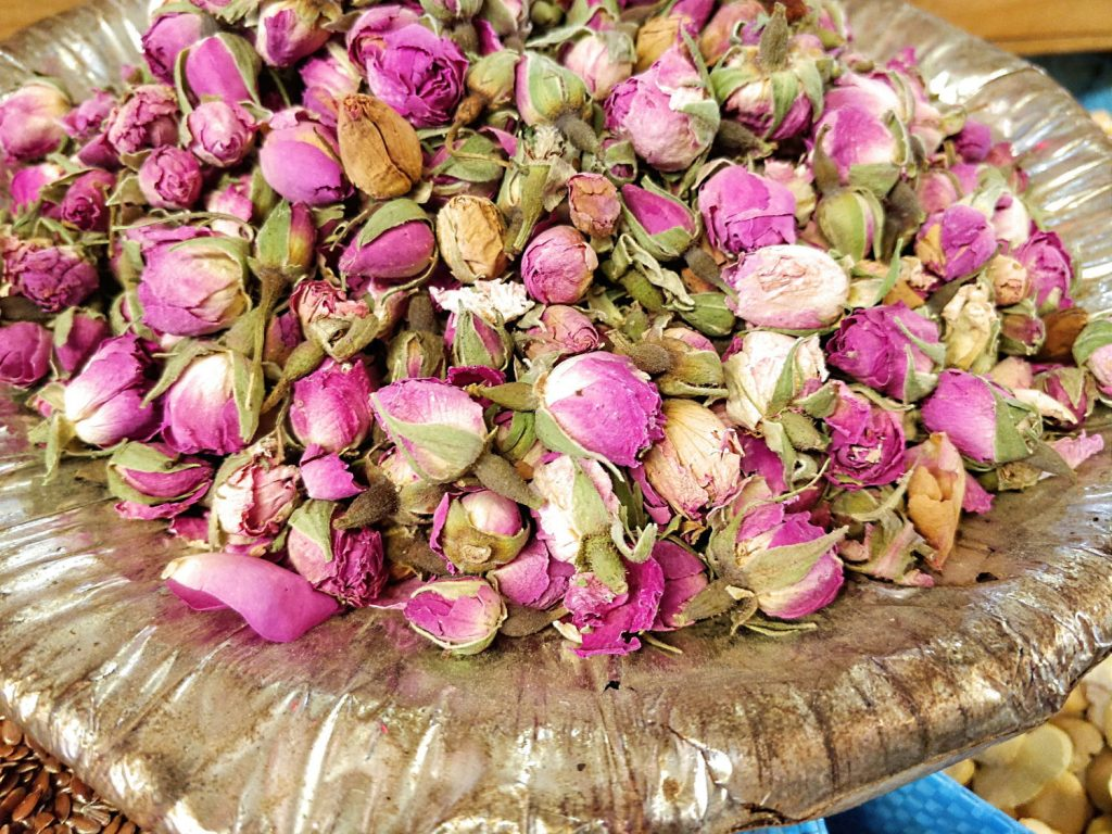 Close up photo of dried rose buds.