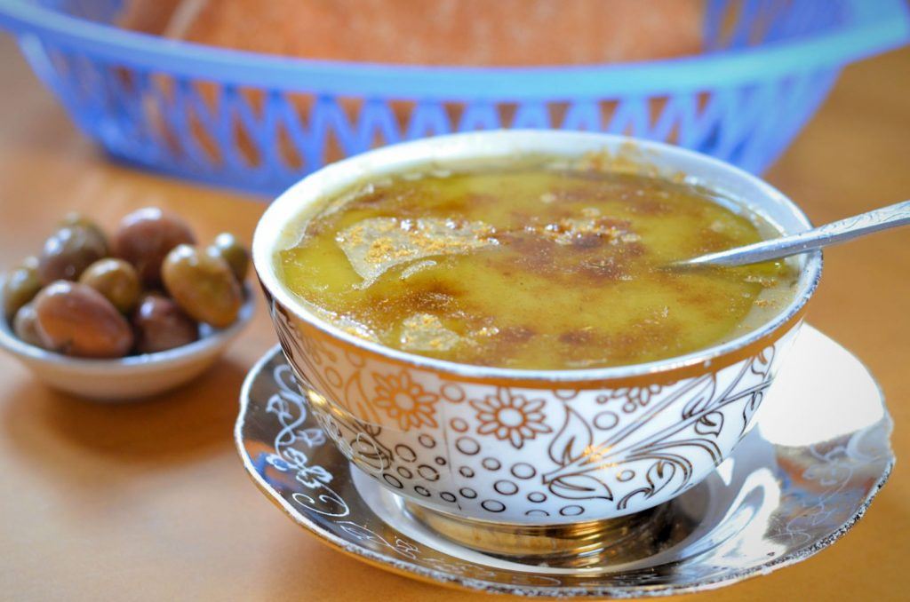 A bowl of Moroccan bessara, a soup made from dried split fava beans.