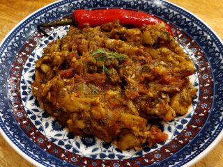 Moroccan zaalouk on plate.
