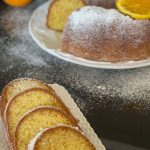 pinterest image of sliced orange cake