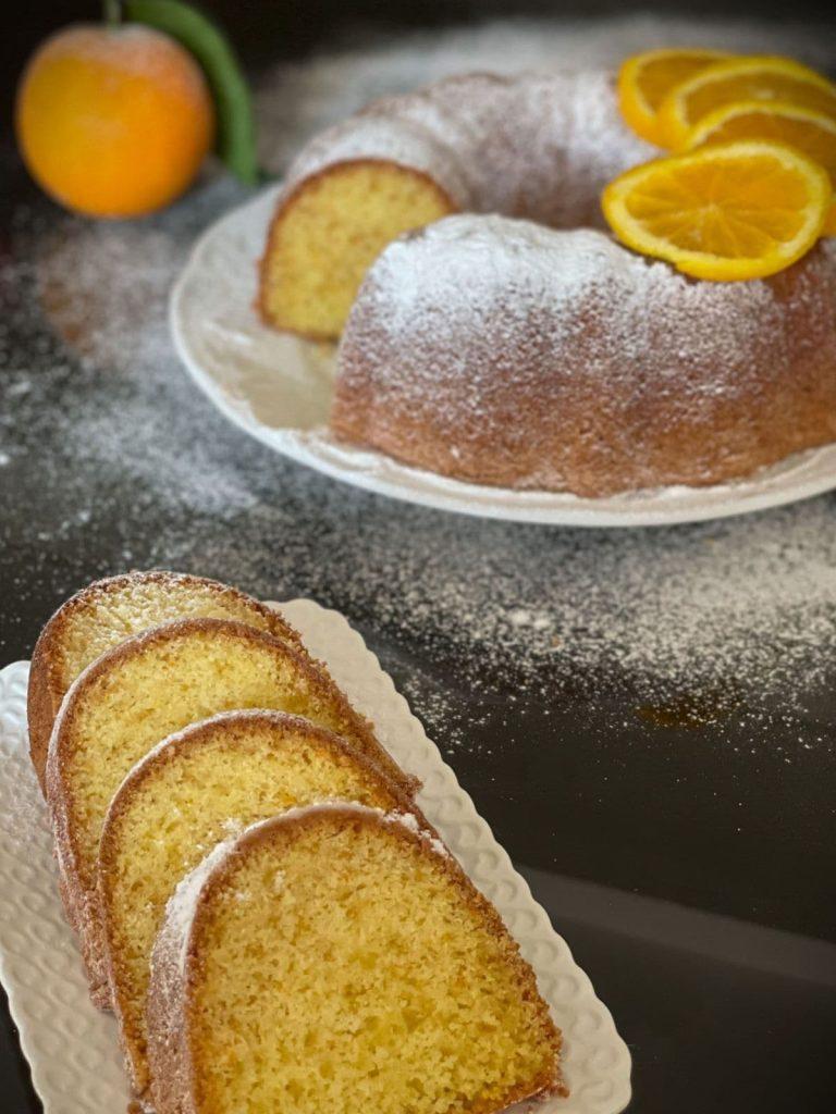 Sliced Moroccan orange cake.