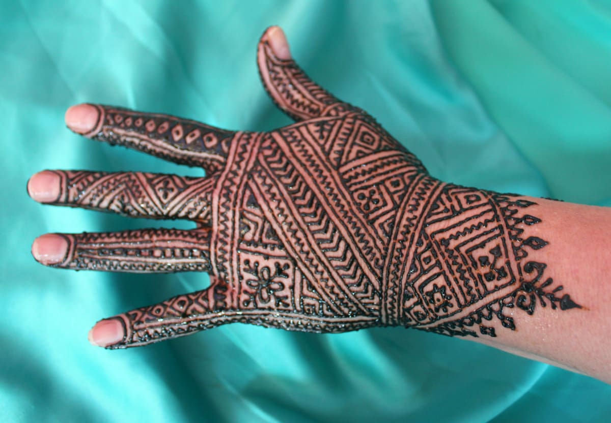 hand covered with henna paste