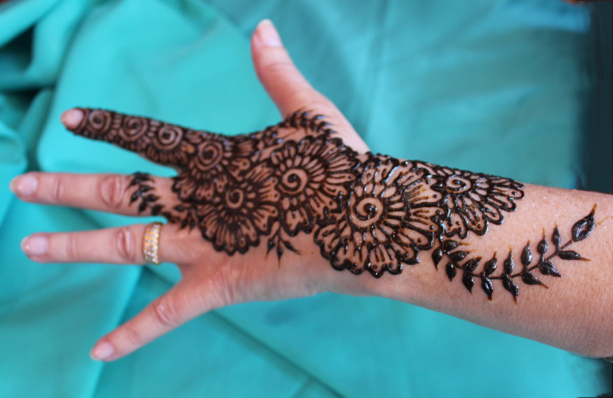 Hand with henna paste