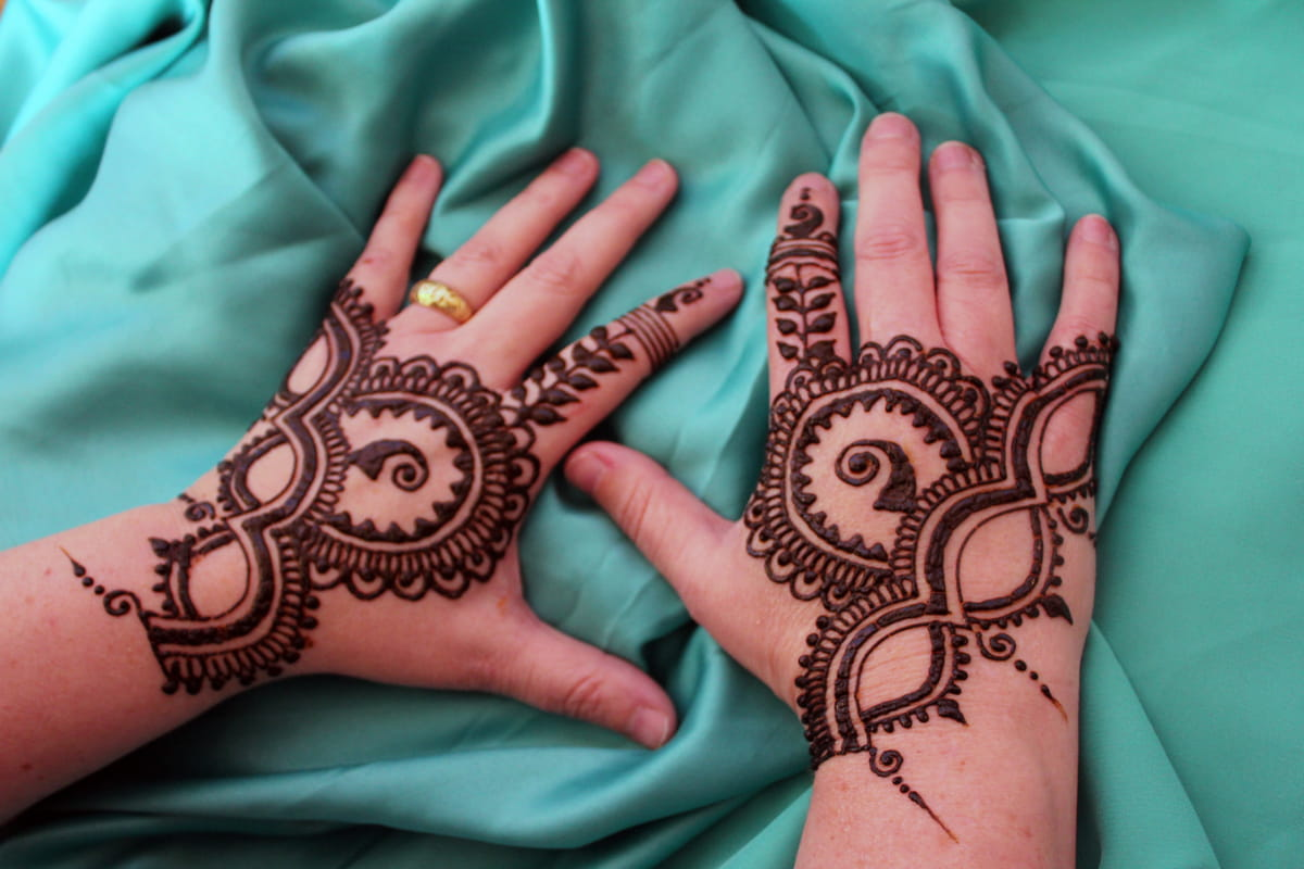 Two hands with henna paste